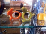 Bakelite napkin rings in antique store