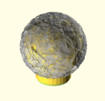 """Hand Hammered"" ball finial in OpenSCAD with the flag set to show process steps"